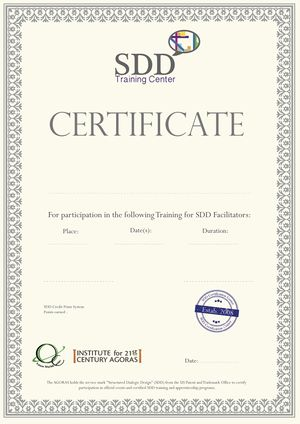 Certificates For Sdd Training Or Participation In Design Team